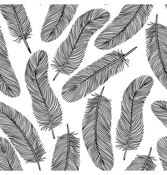 Black-and-white feather seamless background vector