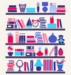 books on the Bookshelves vector image