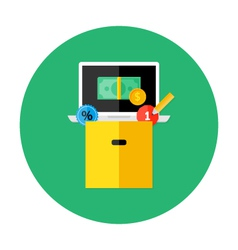 Box with money laptop and discount vector