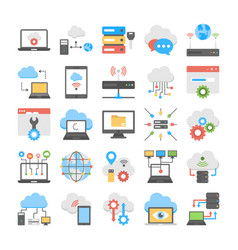Collection of cloud computing and web hosting flat vector