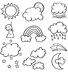 Collection of weather doodle set vector