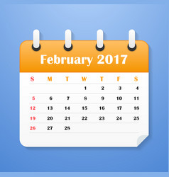 European calendar for february 2017 vector