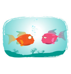 fishes in love vector image
