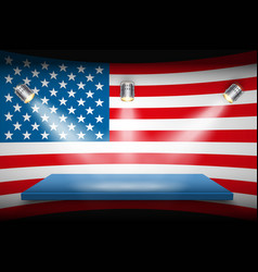 Flag of usa and platform with spotlights vector