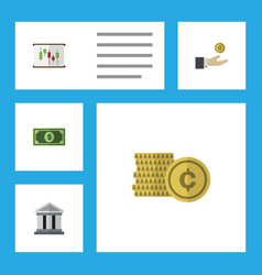 flat icon incoming set of greenback cash hand vector image vector image