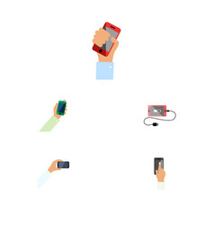 Flat icon touchscreen set of keep phone vector