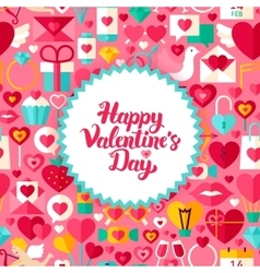 Flat valentine day postcard vector