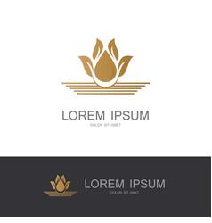 flower gold logo vector image