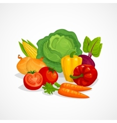 Fresh healthy vegetables composition cartoon vector