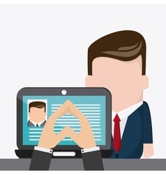 Laptop businessman cartoon icon vector