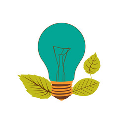 light bulb color turquoise and leaves vector image