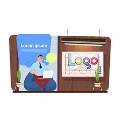Man office worker or designer using laptop vector