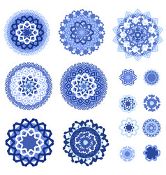 Monochrome blue collection of isolated arabesques vector
