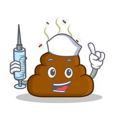 Nurse poop emoticon character cartoon vector