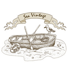 old boat and gull vector image