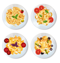 Pasta dishes set vector