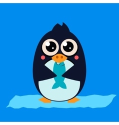 Penguin eating fish on ice vector