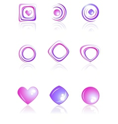 Pink and violet colors logos set vector image vector image
