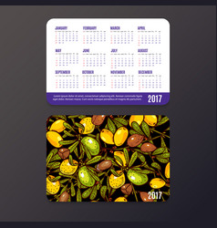 Pocket calendar with eco-products fruits and vector
