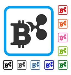 Ripple and bitcoin framed icon vector