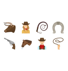 rodeo competition icons in set collection for vector image vector image