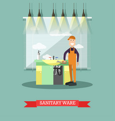 sanitary ware concept in flat vector image vector image