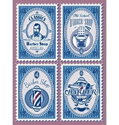 set template of stamps with elements barbershop vector image