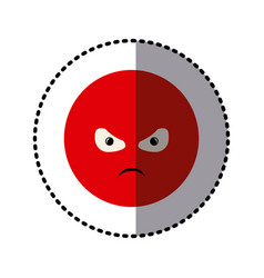 sticker colorful emoticon furious face expression vector image