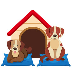 Two cute dogs by the doghouse vector