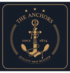 Vintage nautical anchor and tied rope label on vector