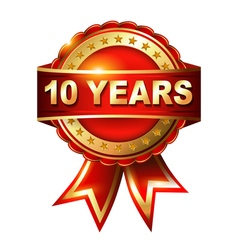 10 years anniversary golden label ith ribbon vector