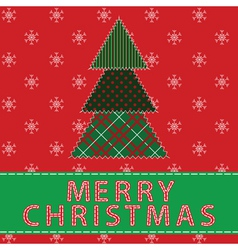 Cristmas pachwork background with tree vector image