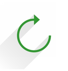 Flat green arrow icon reload sign on white vector