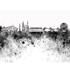 Minsk skyline in black watercolor on white vector image