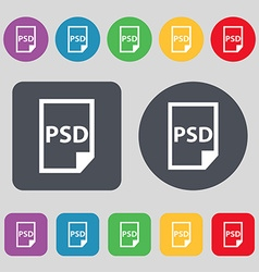 Psd icon sign a set of 12 colored buttons flat vector