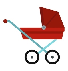 Pram baby carriage icon flat style vector