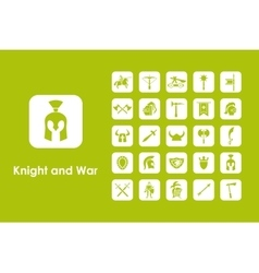 Set of knight and war simple icons vector