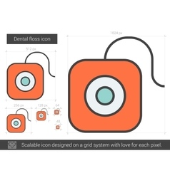 Dental floss line icon vector
