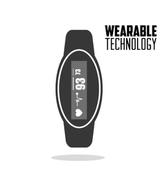 Smart watch heartbeat wearable technology vector