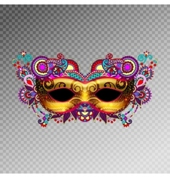 3d gold venetian carnival mask silhouette with vector