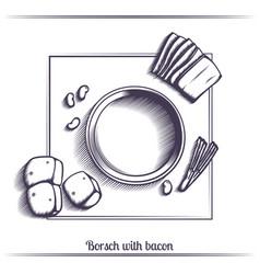 borsch with bacon black vector image