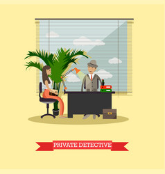Private detective at office vector
