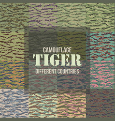 Tiger stripe camouflage seamless patterns vector