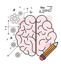 Mind brain pencil idea creativity intelligence vector