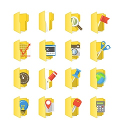 Yellow folders collection with different content vector