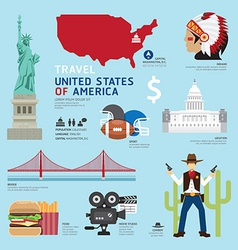 Usa flat icons design travel concept vector