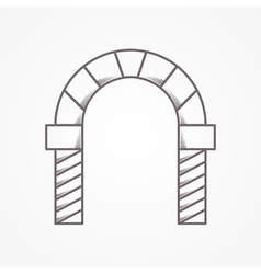 Flat line icon for round arch vector