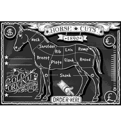 Vintage blackboard of english cut of horse vector
