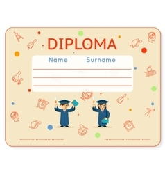 school kids diploma certificate vector image