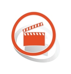 Clapperboard sign sticker orange vector